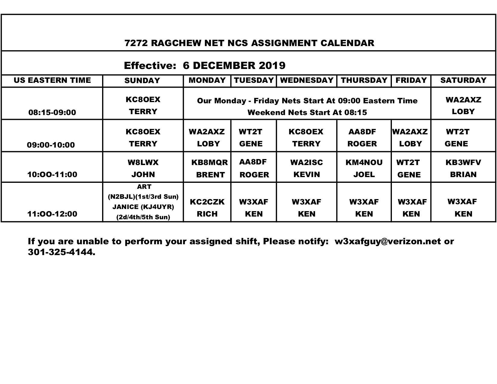 NCS Schedule